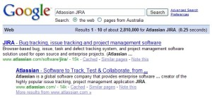 Google search for Atlassian JIRA