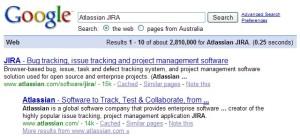 Google search for Atlassian JIRA