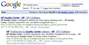 Google search for HP Quality Centre