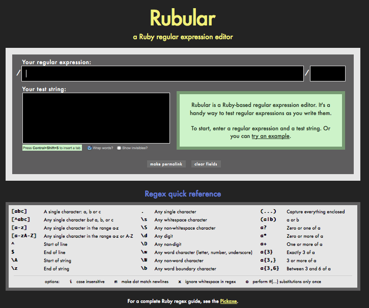 Rubular: A Ruby regular expression editor and tester
