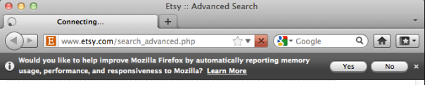 Send data to mozilla