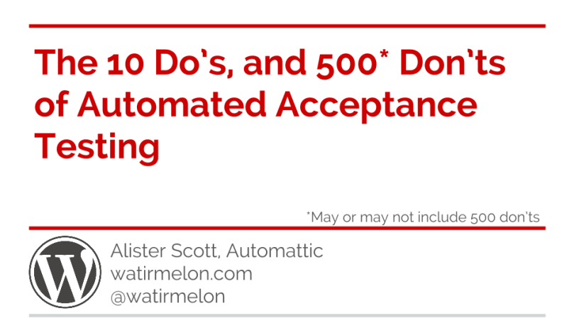 10 do's of automated acceptance testing